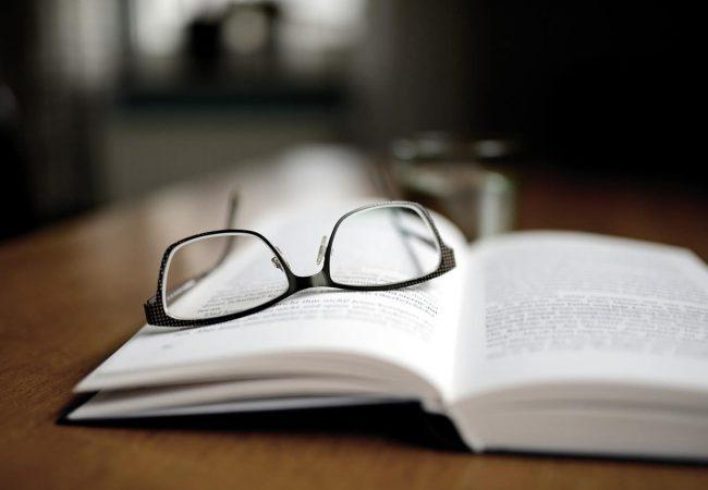 book, read, glasses